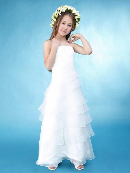 Princess / A-Line Spaghetti Strap Floor Length Organza / Satin Junior Bridesmaid Dress With Side Draping / Spring / Summer / Fall / Wedding Party / Natural_3