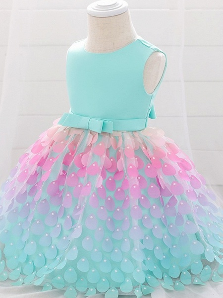 Princess / Ball Gown Knee Length Wedding / Party Flower Girl Dresses - Satin / Tulle Sleeveless Jewel Neck With Sash / Ribbon / Bow(S)_6