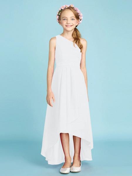 A-Line One Shoulder Asymmetrical Chiffon Junior Bridesmaid Dress With Sash / Ribbon / Bow(S) / Side Draping / Natural_22