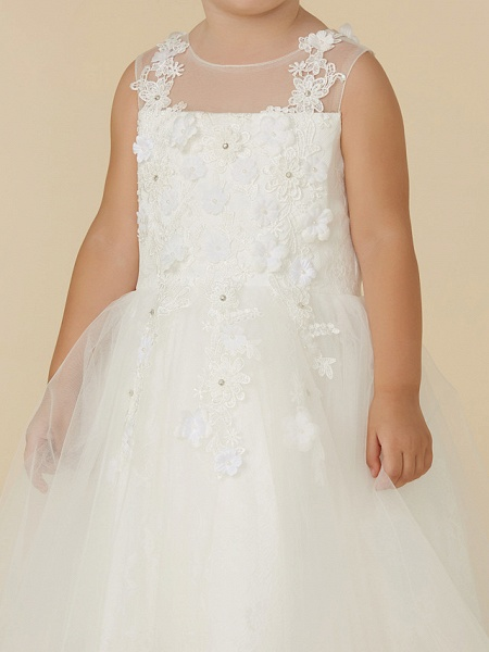 Princess Tea Length Wedding / First Communion Flower Girl Dresses - Lace / Tulle Sleeveless Illusion Neck With Beading / Appliques_6
