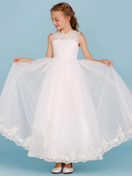 Princess / A-Line Crew Neck Ankle Length Lace Over Tulle Junior Bridesmaid Dress With Sash / Ribbon / Beading / Appliques / Wedding Party / Open Back_6