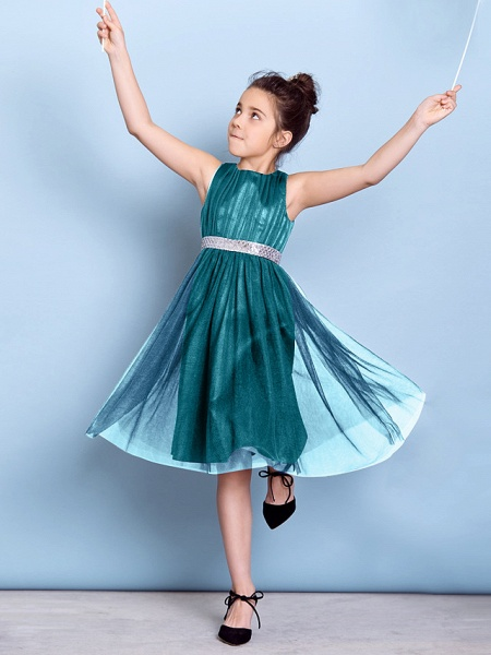 A-Line Jewel Neck Knee Length Tulle Junior Bridesmaid Dress With Sash / Ribbon / Sequin / Draping / Natural_50