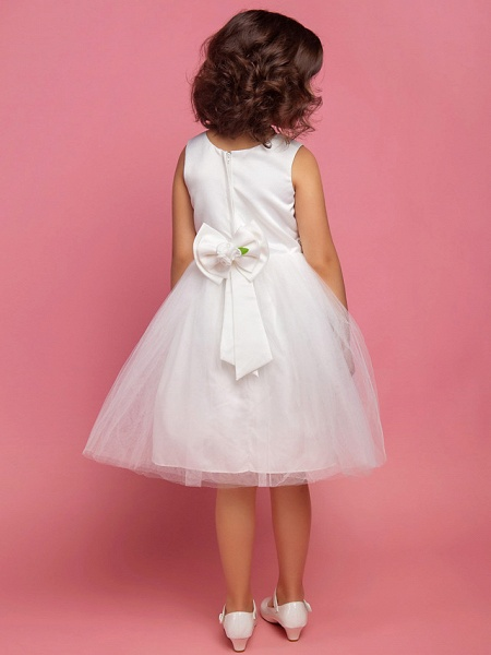 Princess / Ball Gown / A-Line Knee Length First Communion / Wedding Party Lace / Organza / Satin Sleeveless Scoop Neck With Bow(S) / Draping / Flower / Spring / Summer / Fall_3