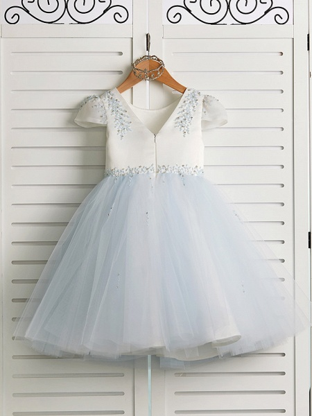 Princess Tea Length Wedding / Birthday / Pageant Flower Girl Dresses - Satin / Tulle Cap Sleeve Jewel Neck With Beading_2