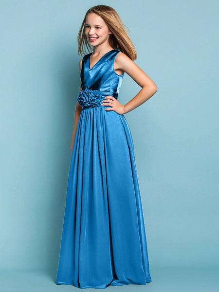 Sheath / Column V Neck Floor Length Chiffon Junior Bridesmaid Dress With Flower / Spring / Summer / Fall / Apple / Hourglass_42