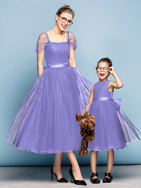 Princess Tea Length Party / Prom / Formal Evening Flower Girl Dresses - Tulle Short Sleeve Square Neck With Bow(S) / Ruched / Elegant_37