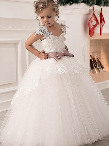 Princess Point Floor Length Lace / Satin / Tulle Junior Bridesmaid Dress With Lace / Sash / Ribbon_2