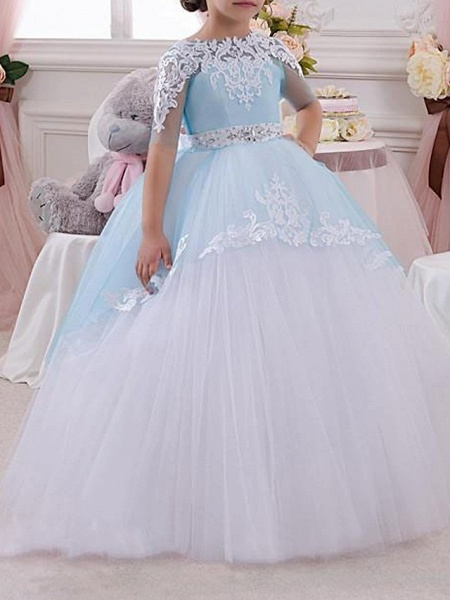 Ball Gown Floor Length Pageant Flower Girl Dresses - Polyester Half Sleeve Jewel Neck With Bow(S) / Appliques_2