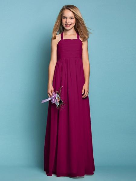 Sheath / Column Halter Neck Floor Length Chiffon Junior Bridesmaid Dress With Ruched / Spring / Summer / Fall / Apple / Hourglass_41
