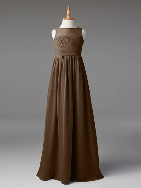 Princess / A-Line Jewel Neck Floor Length Chiffon Junior Bridesmaid Dress With Sash / Ribbon / Pleats_31