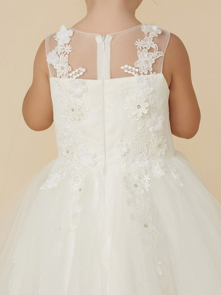 Princess Tea Length Wedding / First Communion Flower Girl Dresses - Lace / Tulle Sleeveless Illusion Neck With Beading / Appliques_7