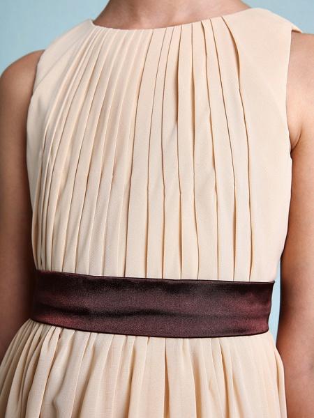 Sheath / Column Scoop Neck Floor Length Chiffon Junior Bridesmaid Dress With Draping / Natural_8