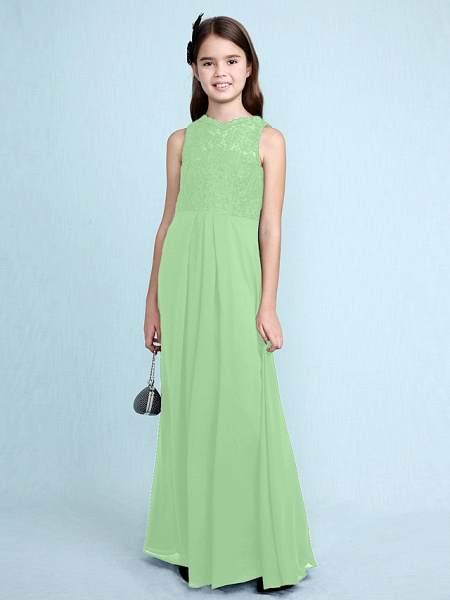 Sheath / Column Scoop Neck Floor Length Chiffon / Lace Junior Bridesmaid Dress With Lace / Natural_32