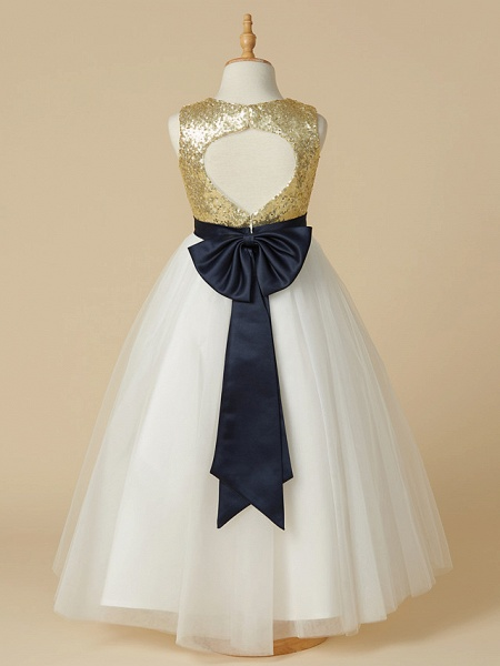 A-Line Ankle Length Pageant Flower Girl Dresses - Tulle / Sequined Sleeveless Jewel Neck With Sash / Ribbon / Bow(S)_2