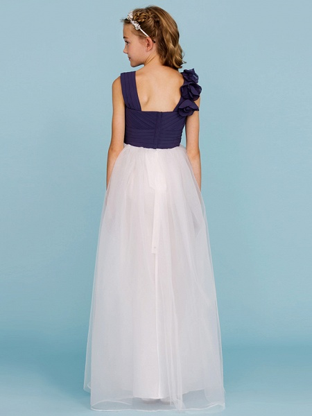 Princess / A-Line Straps Floor Length Chiffon / Tulle Junior Bridesmaid Dress With Criss Cross / Ruched / Flower / Color Block / Floral / Wedding Party_2