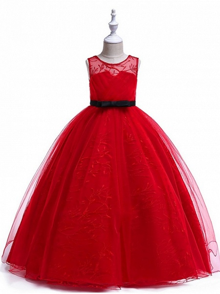 Princess Round Floor Length Cotton Junior Bridesmaid Dress With Bow(S) / Embroidery_4