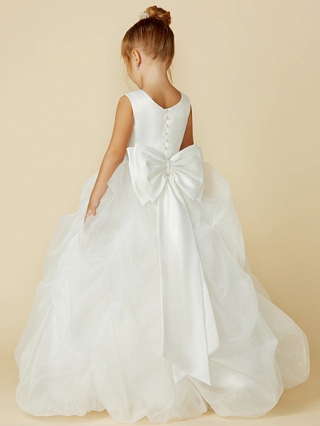 Ball Gown Floor Length Wedding / First Communion Flower Girl Dresses - Organza / Satin Sleeveless Jewel Neck With Sash / Ribbon / Bow(S) / Flower_2
