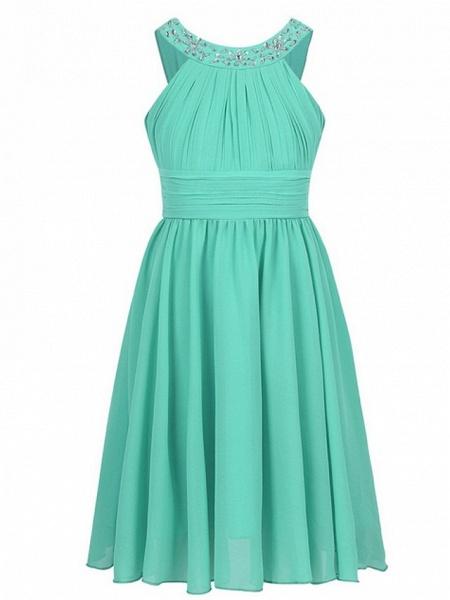A-Line Round Tea Length Chiffon Junior Bridesmaid Dress With Beading / Ruching_5