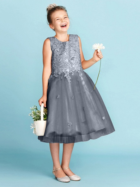 Princess / A-Line Jewel Neck Knee Length Lace / Tulle Junior Bridesmaid Dress With Bow(S) / Appliques / Wedding Party_47