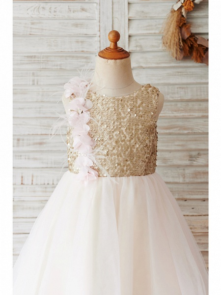 Ball Gown Knee Length Wedding / Birthday Flower Girl Dresses - Tulle / Sequined Sleeveless Jewel Neck With Feathers / Fur / Flower_3
