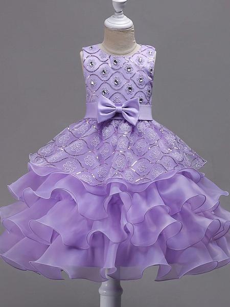 Princess Midi Wedding / Birthday / Pageant Flower Girl Dresses - Organza / Satin Sleeveless Jewel Neck With Bow(S) / Embroidery / Crystals / Rhinestones_5