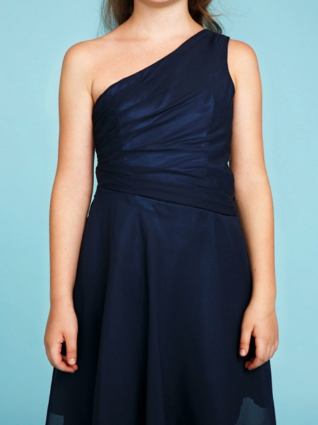 A-Line One Shoulder Asymmetrical Chiffon Junior Bridesmaid Dress With Side Draping / Wedding Party_7