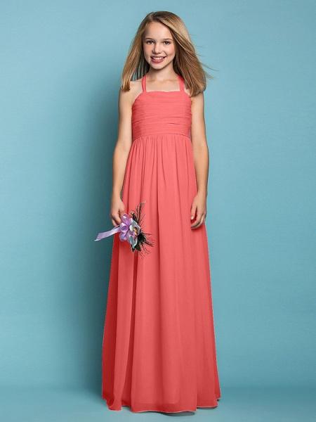 Sheath / Column Halter Neck Floor Length Chiffon Junior Bridesmaid Dress With Ruched / Spring / Summer / Fall / Apple / Hourglass_13