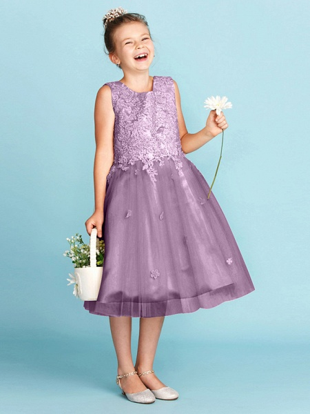 Princess / A-Line Jewel Neck Knee Length Lace / Tulle Junior Bridesmaid Dress With Bow(S) / Appliques / Wedding Party_32