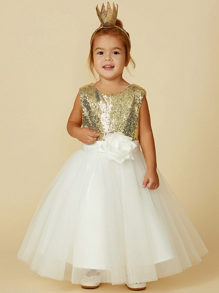 Princess Knee Length Pageant Flower Girl Dresses - Tulle / Sequined Sleeveless Jewel Neck With Sash / Ribbon / Bow(S) / Flower_3