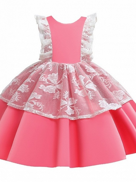 Princess / Ball Gown Knee Length Wedding / Party Flower Girl Dresses - Satin / Tulle Cap Sleeve Jewel Neck With Bow(S) / Color Block_8