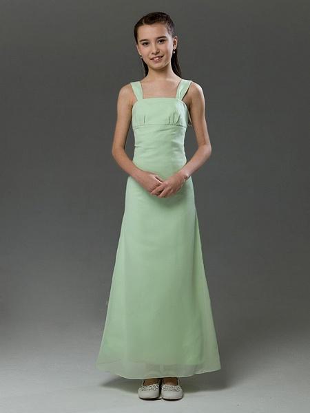 Princess / A-Line Straps Floor Length Chiffon / Satin Junior Bridesmaid Dress With Ruffles / Spring / Summer / Fall / Winter / Apple_1