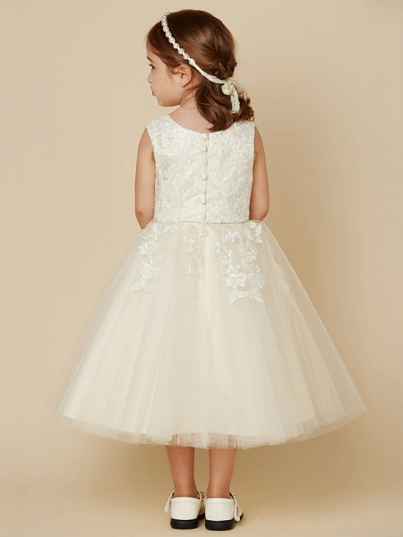 A-Line Knee Length Wedding / First Communion Lace / Tulle Sleeveless Jewel Neck With Beading / Appliques_2