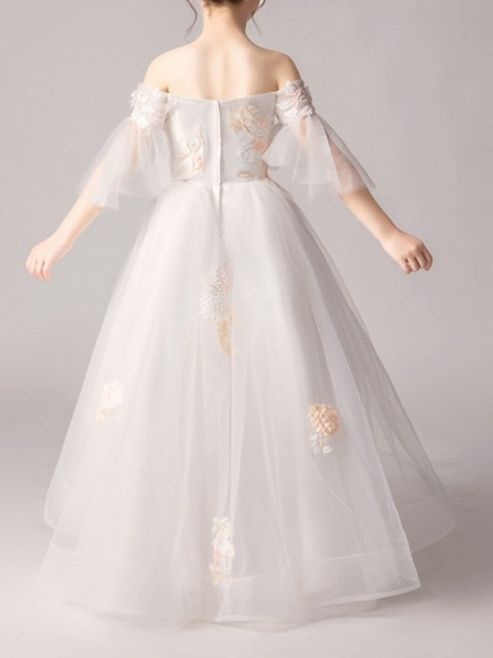 A-Line Asymmetrical Pageant Flower Girl Dresses - Polyester Half Sleeve Off Shoulder With Appliques_4