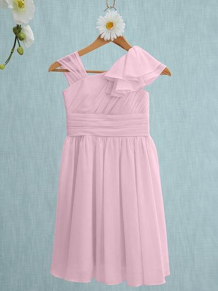 Sheath / Column Straps Knee Length Chiffon Junior Bridesmaid Dress With Ruffles / Side Draping / Natural_9