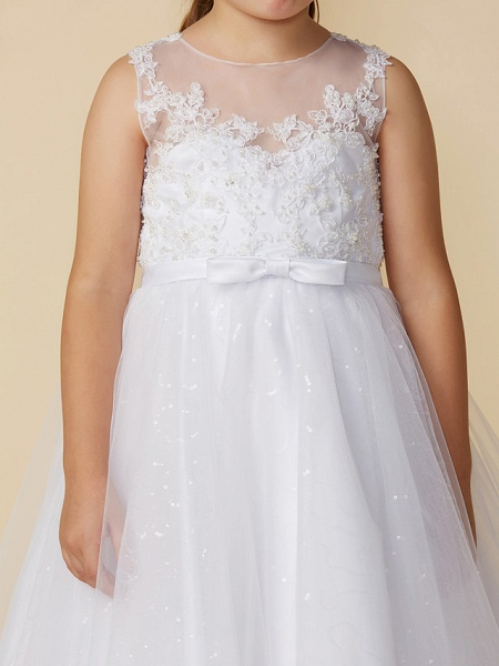 Princess Ankle Length Wedding / First Communion Lace / Tulle Sleeveless Boat Neck With Lace / Bow(S)_5