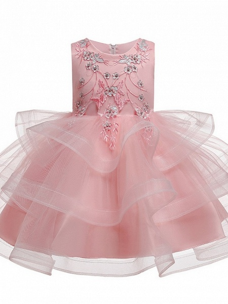 Princess / Ball Gown Knee Length Wedding / Party Flower Girl Dresses - Satin / Tulle Sleeveless Jewel Neck With Bow(S) / Beading / Tier_8