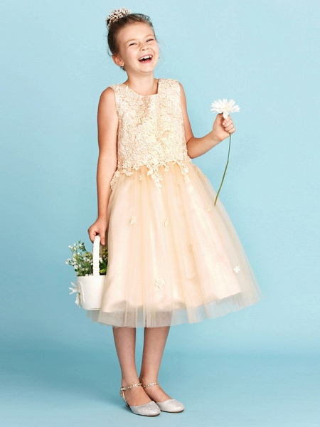 Princess / A-Line Jewel Neck Knee Length Lace / Tulle Junior Bridesmaid Dress With Bow(S) / Appliques / Wedding Party_1