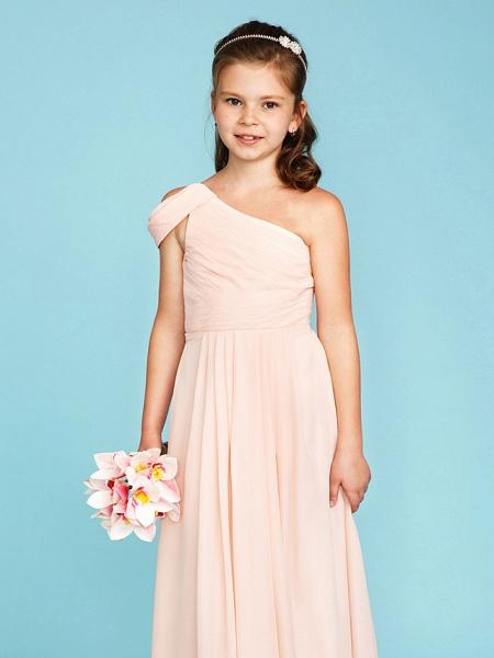 Princess / A-Line One Shoulder Floor Length Chiffon Junior Bridesmaid Dress With Sash / Ribbon / Side Draping / Wedding Party / Open Back_4