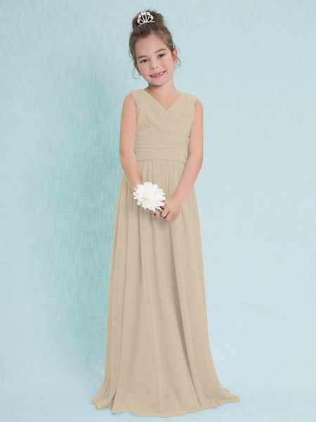 Sheath / Column V Neck Floor Length Chiffon Junior Bridesmaid Dress With Criss Cross / Ruched / Natural_20