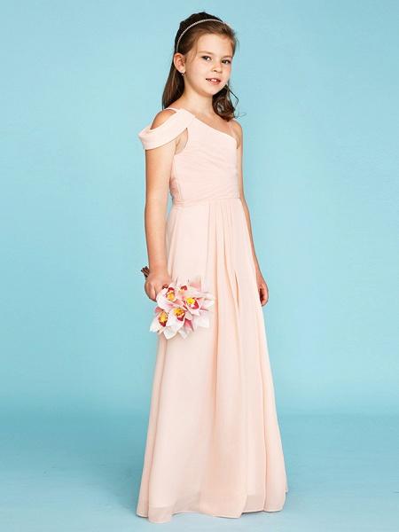Princess / A-Line One Shoulder Floor Length Chiffon Junior Bridesmaid Dress With Sash / Ribbon / Side Draping / Wedding Party / Open Back_3