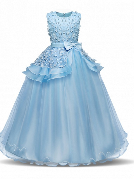 Princess Long Length Wedding / First Communion Flower Girl Dresses - Chiffon / Satin / Tulle Sleeveless Jewel Neck With Bow(S) / Tier / Appliques_8