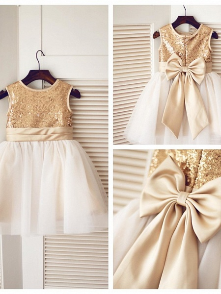 A-Line Knee Length Pageant Flower Girl Dresses - Tulle / Sequined Sleeveless Jewel Neck With Bow(S) / Sequin_4