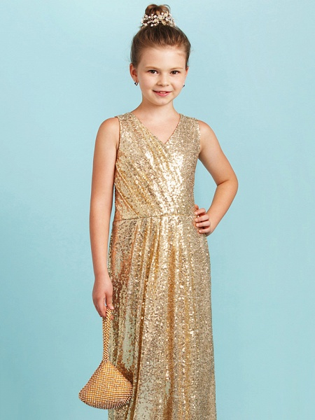 Princess / A-Line V Neck Floor Length Sequined Junior Bridesmaid Dress With Pleats / Sequin_5