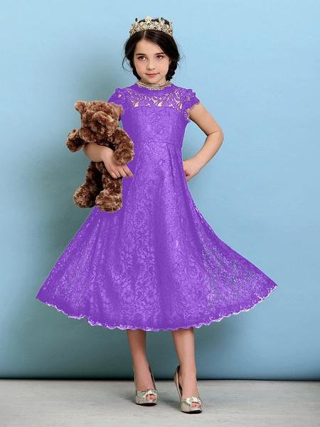 Princess / A-Line Jewel Neck Tea Length Lace Junior Bridesmaid Dress With Pleats / Natural_31