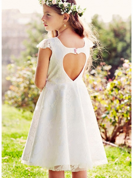 A-Line Knee Length Wedding / Party Flower Girl Dresses - Lace / Satin Cap Sleeve Jewel Neck With Lace_2