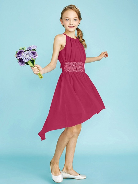 Sheath / Column Jewel Neck Asymmetrical Chiffon Junior Bridesmaid Dress With Sequin / Natural_30