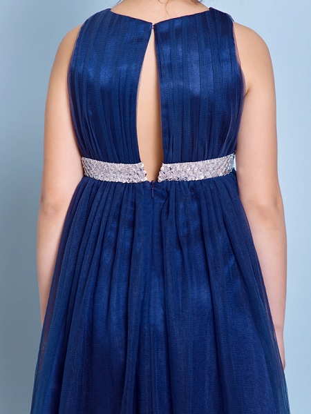 A-Line Jewel Neck Knee Length Tulle Junior Bridesmaid Dress With Sash / Ribbon / Sequin / Draping / Natural_8