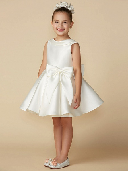 Princess Above Knee Wedding / First Communion Satin Sleeveless Jewel Neck With Bows_3