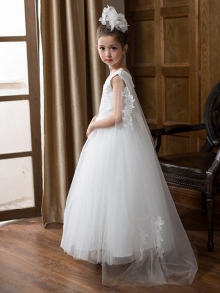 Ball Gown Floor Length Wedding Flower Girl Dresses - Chiffon Sleeveless V Neck With Bow(S) / Solid_4