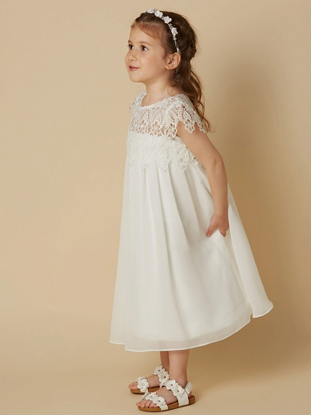 Sheath / Column Knee Length Wedding / First Communion / Holiday Flower Girl Dresses - Chiffon / Lace Short Sleeve Scoop Neck With Lace_3